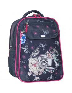 Рюкзак школьный Отличник 1-3 класс серый фотоаппарат