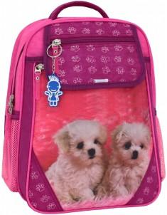 Рюкзак школьный Отличник 1-3 класс малиновый щенята