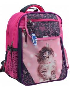 Рюкзак школьный Отличник 1-3 класс малиновый серый котенок