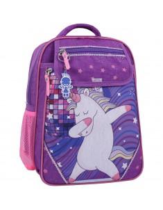 Рюкзак школьный Отличник 1-3 класс фиолетовый 503 единорог