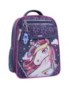 Рюкзак школьный Отличник 1-3 серый 511 единорог