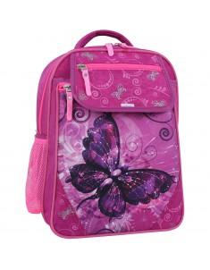 Рюкзак школьный Отличник 1-3 класс малиновый 615 бабочка