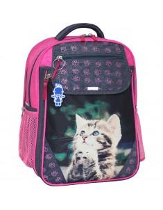 Рюкзак школьный Отличник 1-3 класс серый малиновый 21д котенок