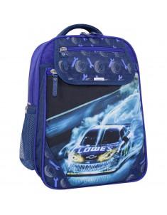Рюкзак школьный Отличник 1-3 класс синий 555 машина