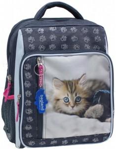 Рюкзак школьный модель Школьник 8 л серый котенок