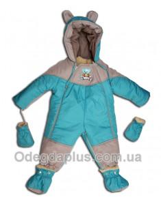 Детский комбинезон-трансформер с отстегивающимся мехом бирюза