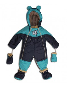 Детский комбинезон-трансформер с отстегивающимся мехом синий бирюза