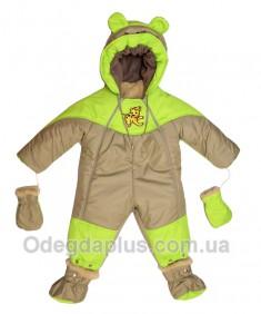 Детский комбинезон-трансформер с отстегивающимся мехом фисташка