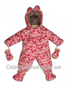 Детский комбинезо-трансформер со съемной овчиной малиновые сердечки