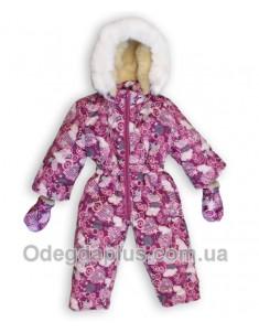 Детский зимний сдельный комбинезон Лыжник бордовый принт