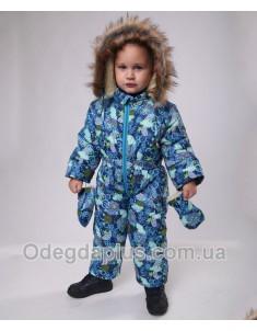 Детский зимний сдельный комбинезон Лыжник синий принт