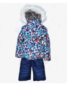 Зимний костюм для девочки на синтепоне синий с цветами. Возраст: 1; 2; 3; 4 года