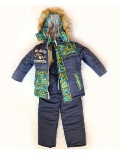 Зимний костюм для мальчика машинка синий лабиринт. Возраст: 1; 2; 3; 4 года.