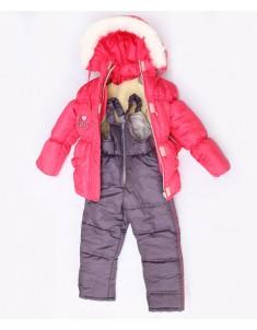 """Зимний костюм на девочку """"Резинка"""" коралл. Возраст: 1; 2; 3 года"""