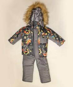 Зимний костюм для мальчика машинка мех серый. Возраст : 1; 2; 3; 4 года.