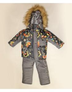 Зимний костюм для мальчика машинка мех серый. Возраст : 1; 2; 3 года.