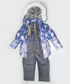 "Зимний костюм для девочки на синтепоне ""Снежинка"" синий. Возраст: 1; 2; 3; 4 года"