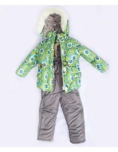 """Зимний костюм для девочки на синтепоне """"Цветы"""" зеленый. Возраст: 1; 2; 3; 4 года"""