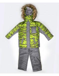 """Зимний костюм для мальчика на синтепоне """"Микс-спорт"""" зеленый. Возраст: 1; 2; 3; 4 года"""