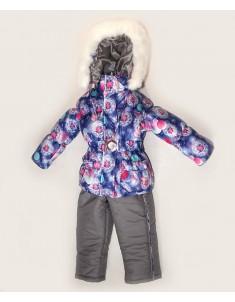 "Зимний костюм для девочки ""Одуванчик"" синий на синтепоне. Возраст: 1; 2; 3; 4 лет."