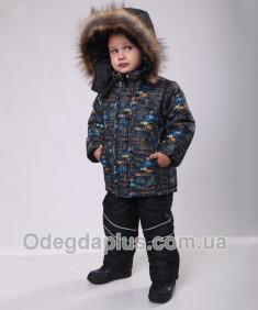 Костюм детский зимний для мальчика Автогонки оранжевый Размеры 1-4 г