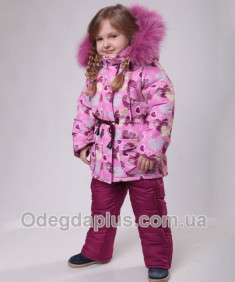 Зимний костюм Сердечки нежно-розовый для девочки. Возраст: 1; 2; 3; 4 года.