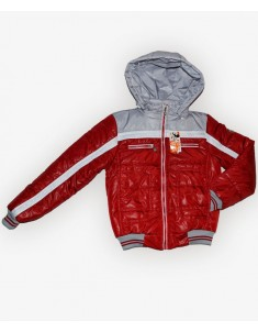 Куртка детская красная с серым. Размеры 32-44