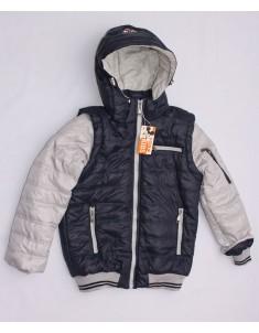 """Куртка демисезонная """"Трансформер"""" тёмно-синяя с серым на мальчика. Размер 30-40"""