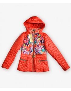 Куртка демисезонная на девочку коралл. Размеры 30-40