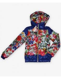 Куртка на девочку синяя с принтом. Слитный капюшон. Размеры 30-42