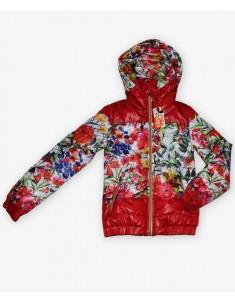 Куртка на девочку красная с принтом. Слитный капюшон. Размеры 30-42