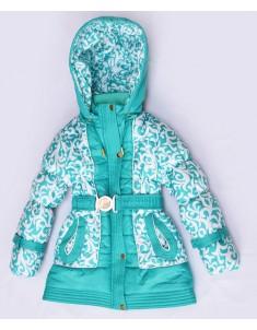 """Куртка демисезонная утепленная """"Вероника"""" бирюза на девочку. Размер: 26-36"""