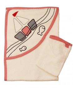 Полотенце детское с капюшоном белое с красным