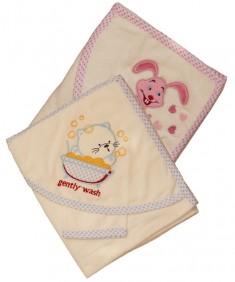 Полотенце легкое детское с капюшоном белое Зверята