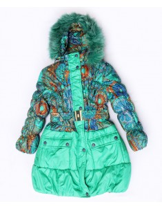 "Пальто ""Зима"" бирюза на девочку"