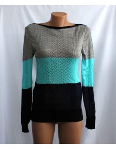 Пуловер №11 трёхцветный с бирюзой
