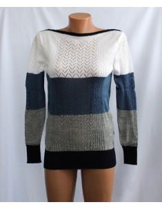 Пуловер №11 трёхцветный с синим