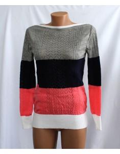 Пуловер №11 трёхцветный с красным