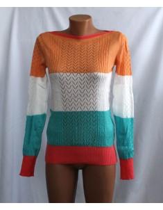 Пуловер №11 трёхцветный с оранжевым