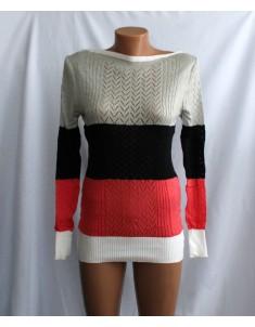 Пуловер №11 трёхцветный с серым