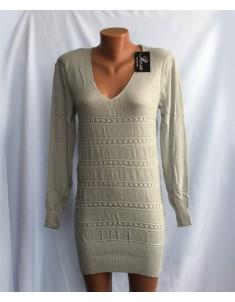 Пуловер №21 серый удлинённый