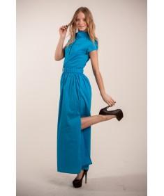 Платье модель №4/1 длинное синее. Размеры 42-46