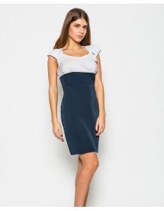 Платье модель №19 брошь сине-белое. Размеры 44-50