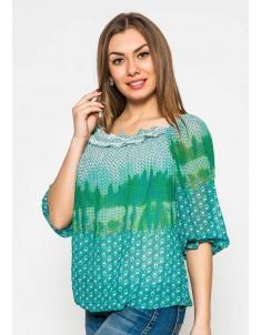"""Блуза """"Шифон"""" зелёная. Размеры 44-48"""