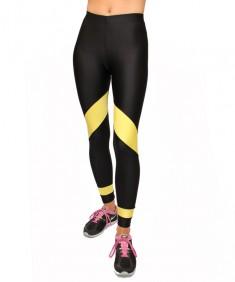 Лосины спорт желтая полоса из бифлекса. Размеры 42-52