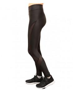 Лосины №70 для фитнеса черные с сеткой из бифлекса. Размеры 40-48