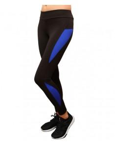 Лосины для фитнеса женские эластик 03 синие вставки р. 42-48