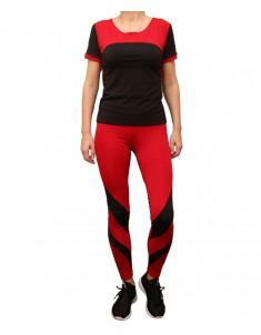 Комплект для фитнеса женский эластик черный красный модель 2 р. 42-48