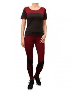 Комплект для фитнеса женский эластик черный бордо модель 2 р. 42-48