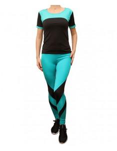 Комплект для фитнеса женский эластик черный бирюза модель 2 р. 42-48